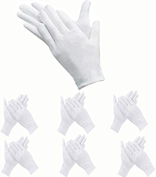 6 PAIRS WHITE COIN INSPECTION GLOVES COTTON LISLE OR BLEND JEWELRY PHOTO FILM