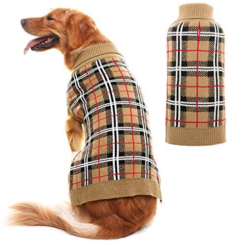 JIATECOO Classic Plaid Dog Sweater  Puppy Festive Winter Warm Cute Clothes