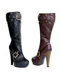 """ELLIE 426-AUBREY 4"""" Knee High Steampunk Boots With Buckles And Studs Women"""