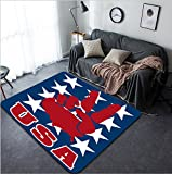 Vanfan Design Home Decorative usa peace flag Modern Non-Slip Doormats Carpet for Living Dining Room Bedroom Hallway Office Easy Clean Footcloth