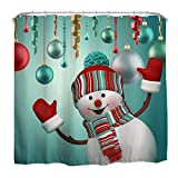Snowman Shower Curtain QiyI Christmas Snowman Shower Curtain Waterproof/Repellent & Antibacterial,Rust Proof Grommets,Eco-Friendly,Machine Washable 60