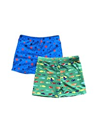SUNOUTLET Kids Boy's UPF 50+ Board Shorts Free Sun Caps(Pack 2)