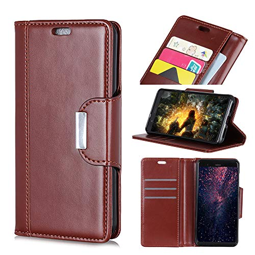 Compatible Huawei Honor 7C Case, Lifeepro PU Leather Protective Shell with Card Holders TPU Silicone Flip Stand Shockproof Compatible Huawei Honor 7C Brown