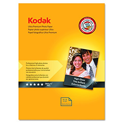 "Kodak Ultra Premium Photo Paper for inkjet printers, Gloss Finish, 10.7 mil thickness, 20 sheets, 4"" x 6"" (8777757) by Kodak"