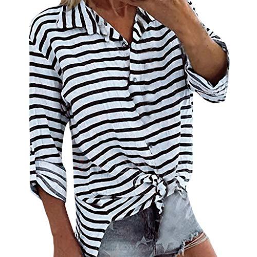 Shiretel Women Summer Long Sleeve V-Neck Striped Casual Loose Plus Size Shirts Gray