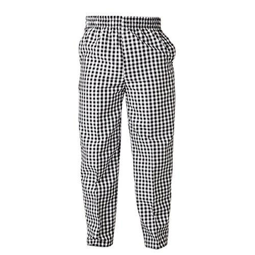 Saien Chef Work Pants Hotel Restaurant Uniform Trousers Elastic Waist Straight Slacks Black White Plaid Asian L