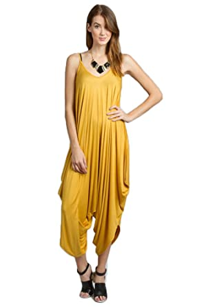 7bde9a9c6f7 Amazon.com  Women All In One Romper Spaghetti Strap Beach Harem Jumpsuit  Small Mustard  Clothing
