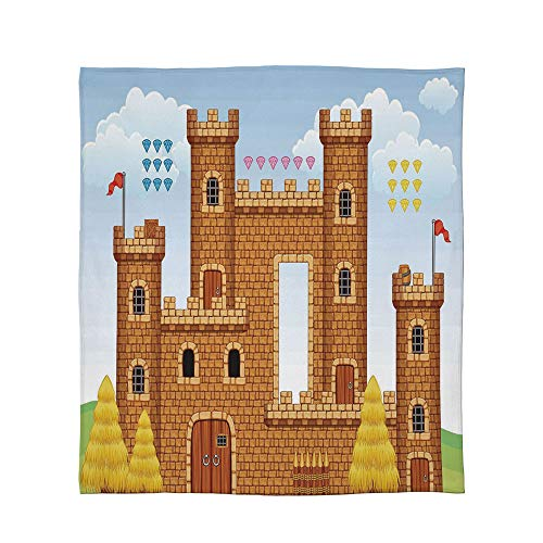 C COABALLA Lightweight Blanket,Children,for Bed Couch Chair Fall Winter Spring Living Room,Size Throw/Twin/Queen/King,Video Game Background with Castle Leisure Hobby