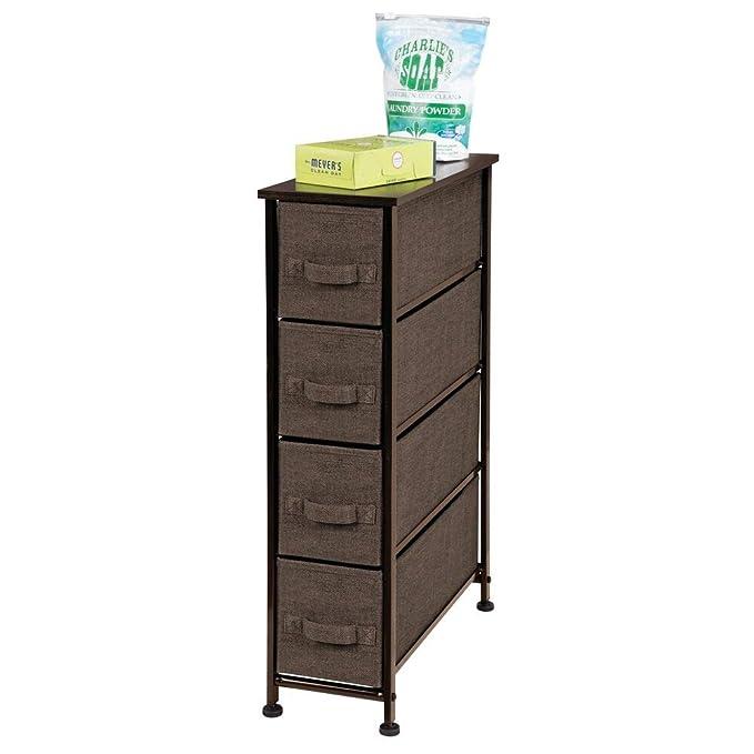 mDesign Cajonera de Tela – Práctico Mueble cómoda con 4 cajones – Estrecho Sistema de Almacenamiento para el Dormitorio, la habitación o el lavadero – ...