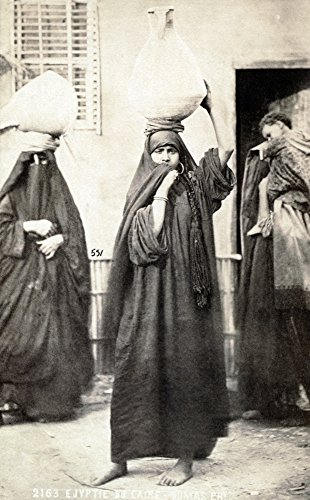 Cairo Women Ntwo Women Carrying Urns On Their Heads And Another Woman With A Child On Her Back Cairo Egypt Photographed By Tancr?De R Dumas Mid Or Late 19Th Century Poster Print by (24 x 36)