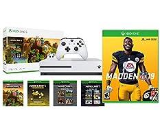 Xbox One Madden NFL 19 Minecraft Creators Bonus Bundle: Xbox One S 1TB Minecraft Creators Console, White Wireless Controller and Madden NFL 19 Game
