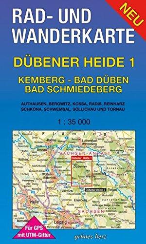 Rad- und Wanderkarte Dübener Heide 1: Kemberg, Bad Düben, Bad Schmiedeberg: Mit Authausen, Bergwitz, Kossa, Radis, Reinharz, Schköna, Schwemsal. Mit UTM-Gitter für GPS. Maßstab 1:35.000.