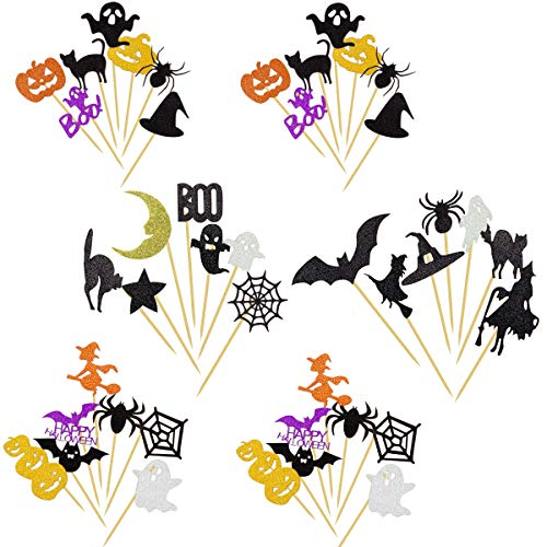 ANPHSIN 42 Pieces Halloween Cupcake Topper, Glitter Muffin Topper Cake Picks Food Toothpicks Halloween Party Supplies Decorations(Various Shapes) -