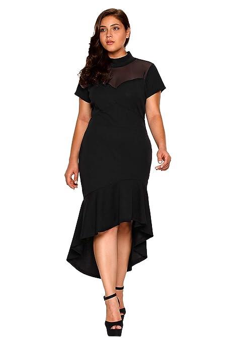 e8c009a09 Amazon.com: NStart Women's Sexy Turtleneck Mesh Insert Ruffled High Low Hem  Short Sleeves Night Club Party Curvy Plus Size Dresses ((US 14-16) XL):  Arts, ...