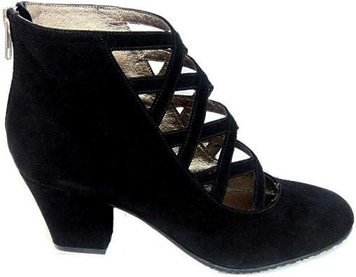 XUPPA - Botines es de Piel para Mujer con Tiras - Hechos en España - Cierre Cremallera - Tacon Ancho 7 cm - Forro Piel - Moda Tendencia Botas Elegantes -: Amazon.es: Zapatos y complementos