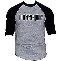 Men's Do You Even Squat V435 Gray/Black Raglan Baseball T-Shirt Large Gray/Black