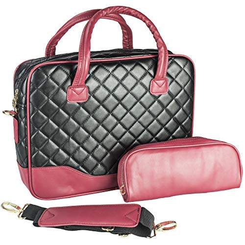 (14.1 inch Black Diamond Quilted Pattern with Red Accent Trim Bubble Foam Padded Laptop Computer Notebook Sleeve Office Tote Briefcase Carry Case Messenger Shoulder Bag)