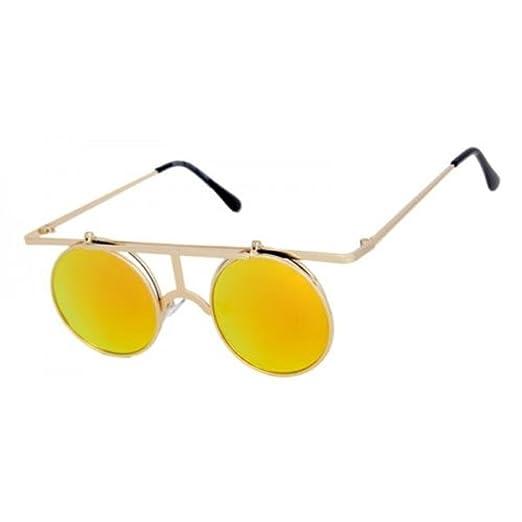 d60553a11 Round Metal Wire Frame Flip Up Steampunk Sunglasses (Gold Frame, Orange  Iridium Mirror)