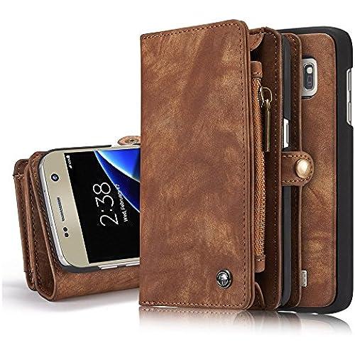 Galaxy S7 Case,Hoosam(TM) Leather Wallet Case - Card Slot Series [Zipper Cash Storage] [Wallet] [Flip case] [Magnetic Flap]Detachable For Samsung Galaxy Sales