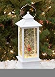 Roman White Lighted With Red Cardinal LED Lantern