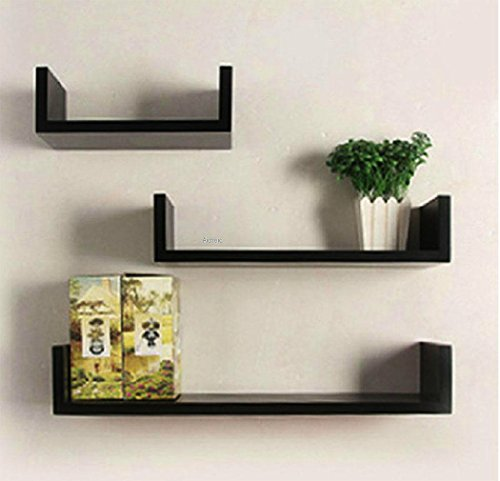 Leoneva Floating Wall Shelf Ledge U Shape (Wooden Wall Unit)