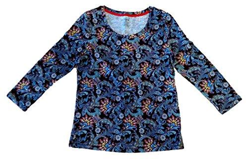 Rafaella Women's Holiday in Havana Scoop Neck Top 3/4 Sleeves Size Petite XS (Scoop Rafaella Neck)