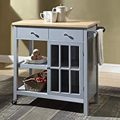 Kitchen Linio-home Rolling Kitchen Cart Island with Wood Top, Multi-Function Kitchen carts with Storage and Drawers, Towel Bar… modern kitchen islands and carts