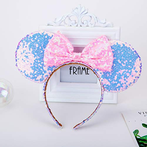 Sparkled Mouse Ears headband, Girls Sequin Minnie Ears Headband for Cosplay Costume Glitter Party Hot Princess Decoration and Birthday Party, Beautiful Hair Accessories with Cute Bow (Purple&Gold)