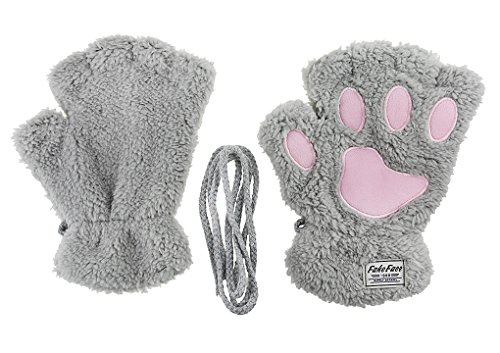 Women Kids Girls Boys Faux Fur Bear Cat Paw Claw Warm Plush Fingerless Gloves Mittens Halloween Fancy Party Cosplay Costume Props for $<!--$3.76-->