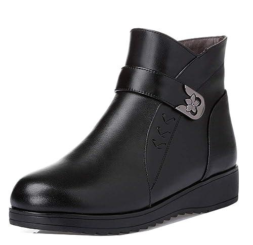 Easemax Femme Spécial Talon Compensé Zip Lanière Low Boots Bottines Noir 35  EU fb49ce1286f9