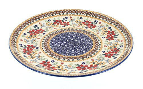 (Blue Rose Polish Pottery Red Daisy Large Dinner)
