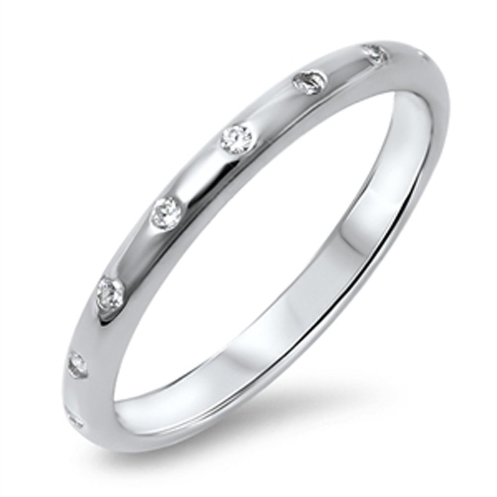 Clear CZ Polished Eternity Simple Ring New .925 Sterling Silver Band Size 8