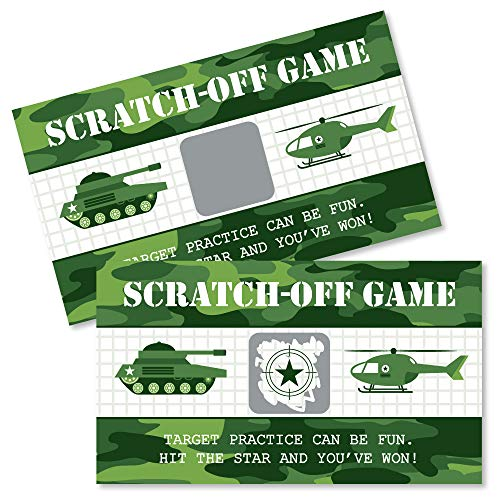 Big Dot of Happiness Camo Hero - Army Military Camouflage Party Game Scratch Off Cards - 22 Count (Army Party Games)