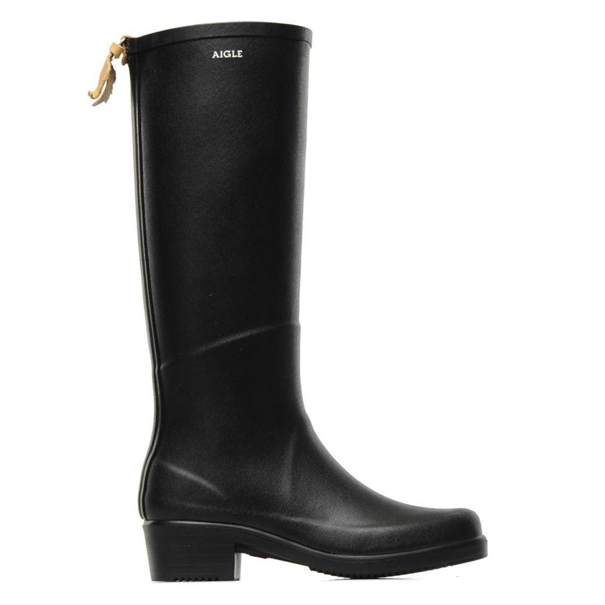 Aigle Miss Juliette A Natural Rubber Rain Boots - Black/Noir , (US 7.5 - 8) EUR 38 , UK 5