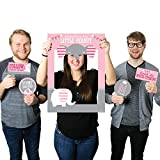 Big Dot of Happiness Pink Elephant - Girl Baby Shower or Birthday Party Selfie Photo Booth Picture Frame & Props - Printed on Sturdy Material