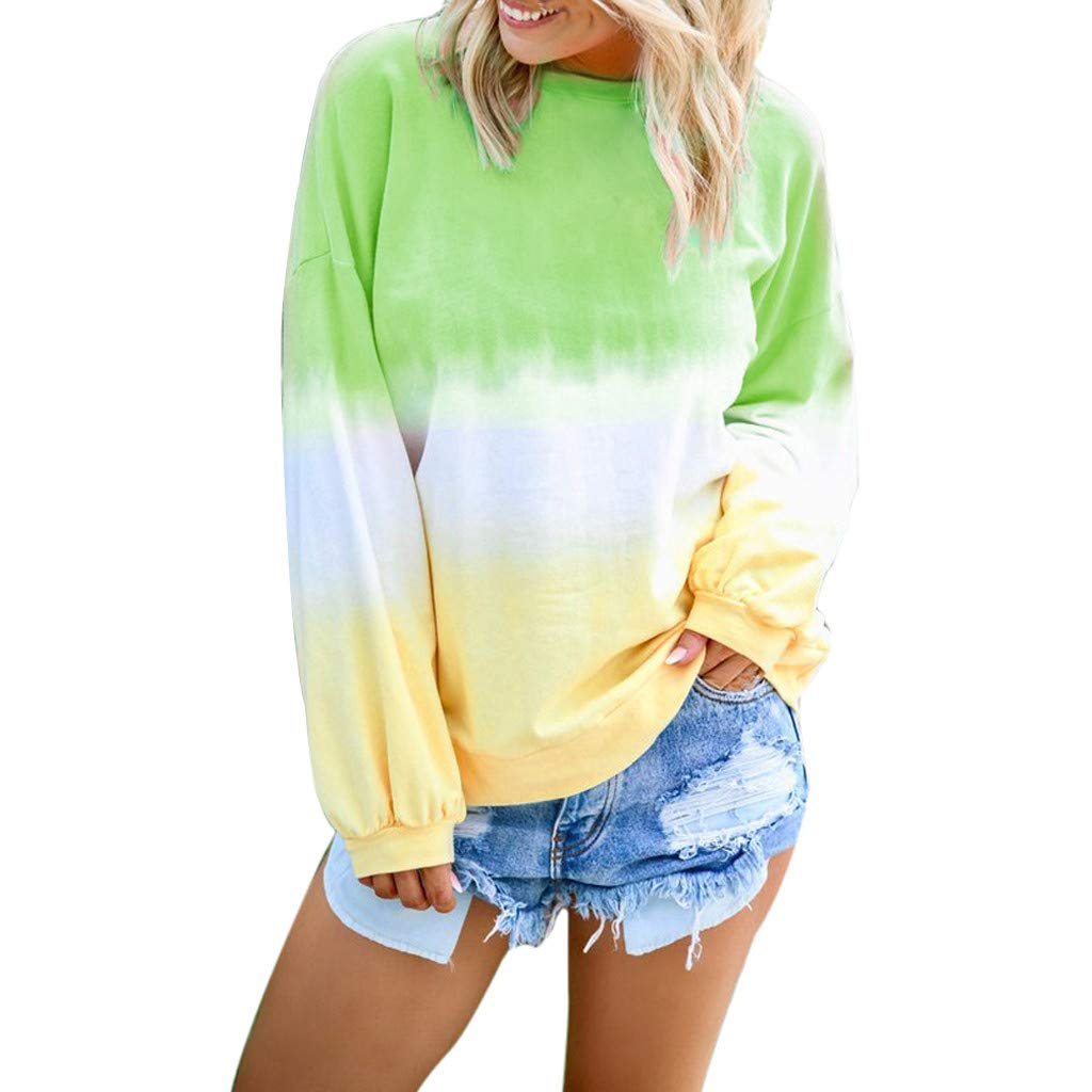 Malbaba Women's Casual O-Neck Gradient Contrast Color Long Sleeve Top Pullover Sweatshirt Green by Malbaba