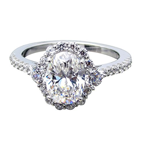 SR270130 .925 Sterling Silver 1.5ct Total 1ct Brilliant Oval Center CZ Halo Ring