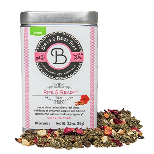 Organic Raspberry Leaf - Third Trimester Tea - Organic Ripe & Ready from Birds & Bees Teas - Prepare Your Body Before Birth! A Delicious Red Raspberry Leaf Blend - Best for Expecting and Pregnant Mothers (~30 Servings)