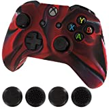 Silicone Skin Protective Cover for XBOX One Controller [Camouflage Red + Black Caps]