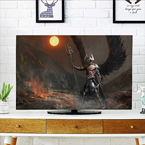 (Auraisehome tv dust Cover Decor Collection Knight with Wings Feathers Angel Devil Full Moon Fire Fantasy Night Dust Resistant Television Protector W35 x H55 INCH/TV)