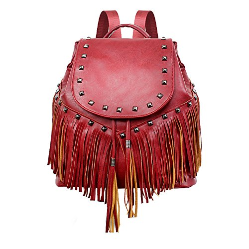 Boho De Mujer Cuero Y Winered Backpack Bolso Para Kyokim Cómodo Ligero Adolescente HxnR5I6q