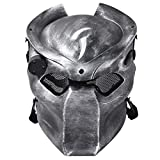 Outgeek Outdoor CS Games Costume Mask Ventilate Protective Face Mask with Infrared Lamp for Halloween Masquerade Cosplay (Silver and Black)