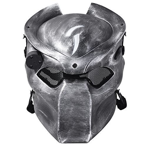 Outgeek Outdoor CS Games Costume Mask Ventilate Protective Face Mask with Infrared Lamp for Halloween Masquerade Cosplay (Silver and Black)  ()