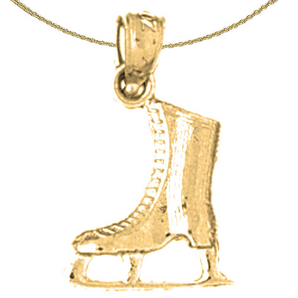 Jewels Obsession Silver 3D Ice Skate Necklace 14K Yellow Gold-plated 925 Silver 3D Ice Skate Pendant with 16 Necklace