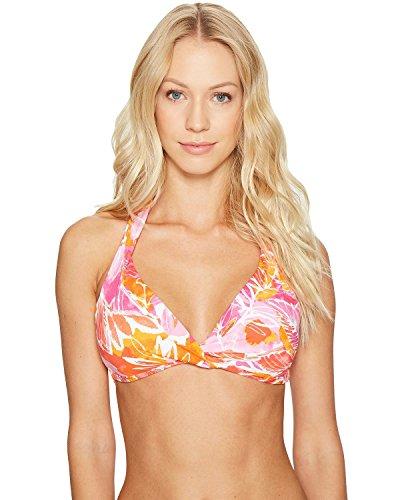 Lauren Ralph Lauren Women's Lush Tropical Twist Molded Halter Bra Top Orange 14