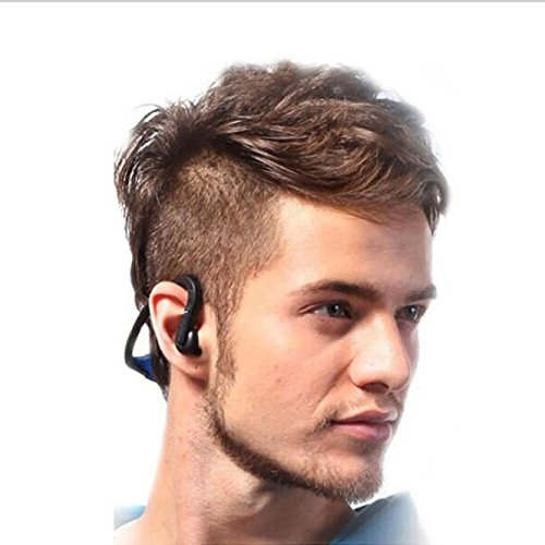 AJIUHE 丨丨Bluetooth Wireless Sweatproof Conduction Stereo Headphone,Headphones w/ 12+ Hours Battery,Best Workout Wireless Sport Earphones w/Mic - Waterproof Music Earbuds for Gym Running BK
