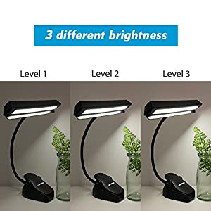 LEPOWER 14 LED Music Stand Lights, 3 Levels of Brightness Clip Lights, Rechargeable USB Book Reading Light, Full Charged for 11-hour Using for Piano, Travel, Desk and Bed Headboard