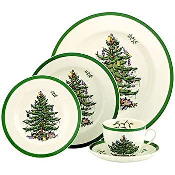 Amazon.com: Spode Christmas Tree 5-Piece Dinnerware Set, Service for ...