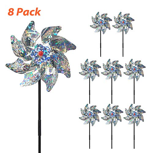 Fanng Bird Deterrent Pinwheels Sparkly Silver Spinners Holographic Mylar Reflection Materials Scare Birds Pests Away for Garden Party Lawn Kids Decor (Set of 8) ()