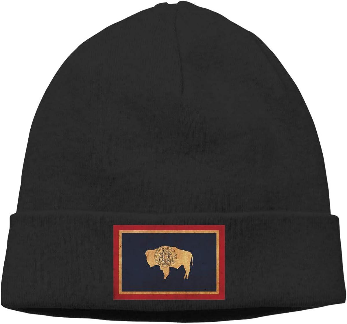 Vintage Wyoming Flag Beanie Hats Cap Men Winter Summer Serious Style Skull Cap Winter Hats